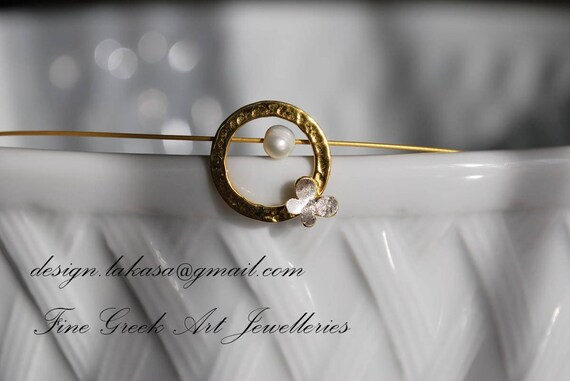 Butterfly in circle with pearl necklace sterling silver goldplated jewelry lakasaeshop fine greek art love luck charm girlfriend gift forher