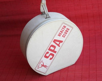 1960s White Round Luggage, Mid Century Modern Tote, Holiday Spa Health Clubs, Zippered Small Luggage with Handle, Retro, Red and White