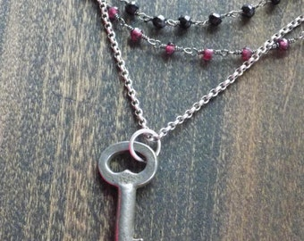 Antique Key with Beaded Garnet and Spinel Chain Necklace