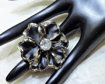 Pretty Flat Black Enamel and Clear Rhinestone Ruffle Flower Brooch