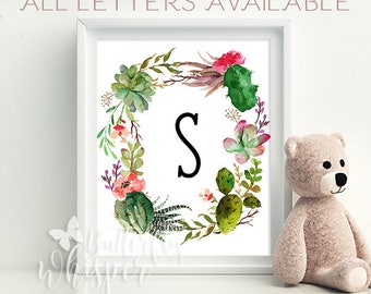 Cactus and succulent custom baby letter printable - Nursery decoration - Baby shower decor - Baby room wall art print Personalized Baby gift