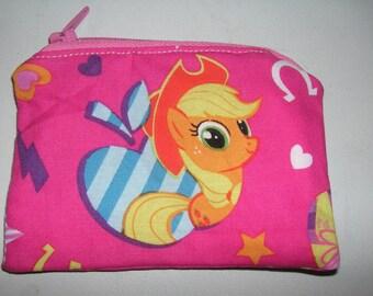 My Little Pony handmade fabric coin change purse zipper pouch
