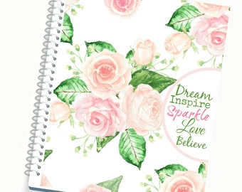 2017 Planner, Daily / Weekly Planner, Blush Pink Roses Cover, Spiral Planner, Student Planner, Writing Journal, Cute Planner, Agenda