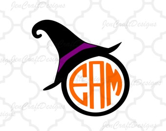 Witch Hat SVG Monogram Frame, Halloween Designs, Svg Files, Vector Art, EPS, Png, DXF Cricut Design Space, Silhouette, Digital Cut Files