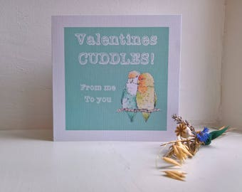 Love birds Valentines Card, cute and funny hand made blank card