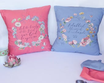 Custom Floral Applique and Embroidery Cushion Cover