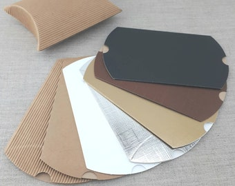 """Pillow Boxes XL 5 x 4 x 1 2/8"""", Qty 50 100, Silver Gold White Brown Craft Boxes, Craft Supplies, Packaging Boxes, Favor Boxes, DIY"""