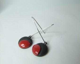 Ceramic earrings black and red Raku