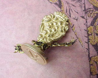 Handsome Vintage Italian Brass Wax Seal with Renaissance Look