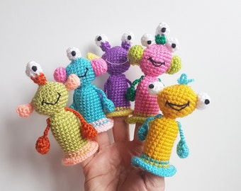Monsters Finger Puppets crochet toys finger theater aliens Waldorf toy kids gift Travel gift baby toys christmas gift toy play set gift