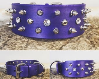 """2"""" Genuine Leather Custom Spiked Dog Collar with Custom Color options"""