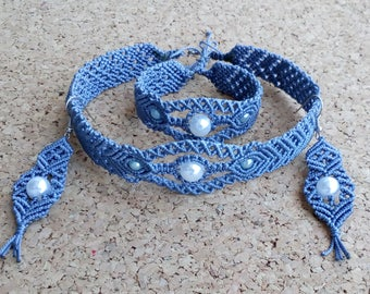 Gray-blue macrame jewelry set