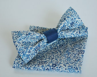 Bowtie liberty blue and white with or without Pocket square