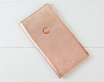 Personalized Leather Travel Wallet | Custom Rose Gold Leather Passport Monogram Passport Holder Passport Cover Bridesmaid Gift for Mom Her