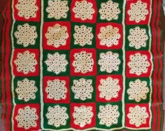 Snowflake Winter Throw, Blanket, Crochet  Afghan