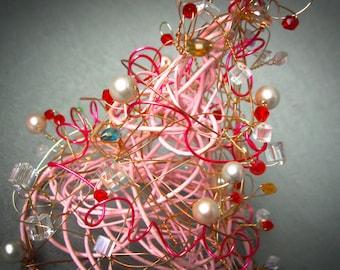 Pink Christmas Tree Decor,  Artificial Christmas tree, Weihnachtsbaum, Beaded Wire Tree, Arbre de Noël, Christmas Decoration