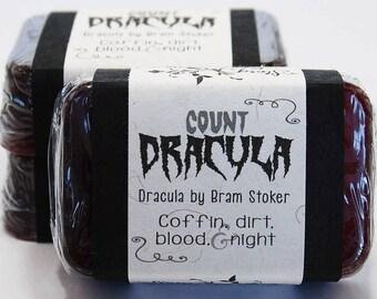 Count Dracula, Bram Stoker, Halloween Glycerin Soap Bar - Handmade Custom Book Character - Coffin, Blood Red, Party Favor, Monster, Vampire
