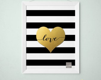 Faux Gold foil print - Heart Black and white Stripes with cursive love -  Faux Gold Foil Wall Art  - Print, Artwork, Stripes (1031)