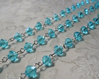 """One Meter 39.5"""" Faceted Caribbean Blue Bicone Glass 6mm Beaded Rosary Chain Bright Silver 967"""