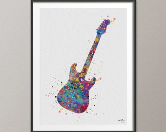 Electric Guitar Music Instrument Watercolor Art Print Wall Art Poster Music Art Wall Decor Art Home Decor Geekery Nerdy Wall Hanging No-953