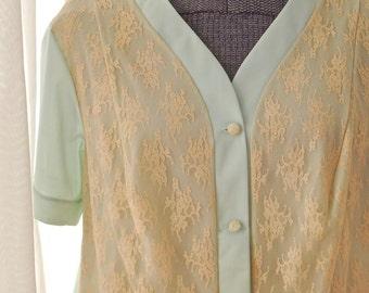 Vintage 1960s Mint Lace Sleep Shirt - Vanity Fair - M/L
