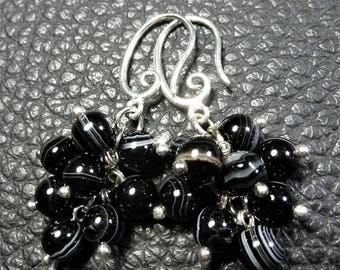 Pretty Black Striated Agate Plated Silver Cluster Earrings