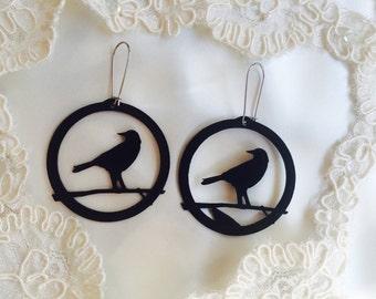 Crow Earrings Recycled Earth Friendly Accessories Musical Jewelry Black Raven Earrings Vinyl Record Large Bird Earrings