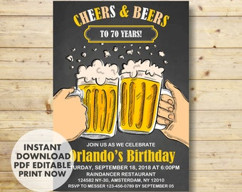 70th Birthday Invitation, 70th Birthday, Cheers & Beers,  Birthday Party Invitation, INSTANT DOWNLOAD, Beers, Cheers, pint