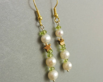 """Starlet Earrings with Peridot and Freshwater Pearls - """"Storytime"""""""