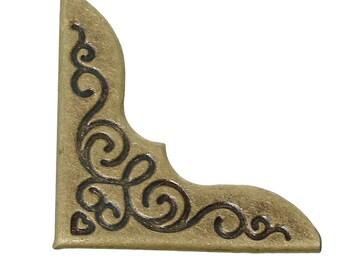 set of 8 corners angles bronze metal to protect book or album, card, menu...