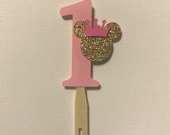Minnie cupcake topper, 1st bday, princess Minnie