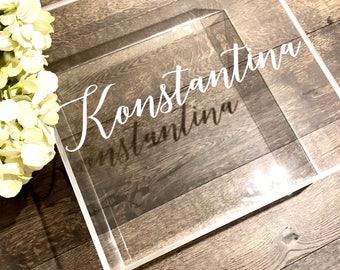 Acrylic Personalised Christening Box , Greek Christening , Keepsake Box , Greek Baptism , Acrylic Box , Baptism Box, Acrylic Gift Box