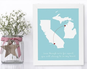 Daughter to Father Gift from Daughter to Dad Father Daughter Gift Wedding Gift for Father of the Bride Gift from Bride Long Distance Map