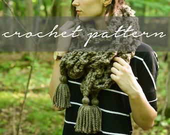 PATTERN: Knitbrooks Crochet Triangle Tassel Shawl Scarf