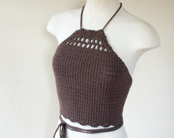 "Crochet Halter Top. Crochet crop top. Festival top. Summer top - ""Sugar Magnolia"""