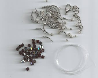 "Kit for making the bracelet ""uranie"" burgundy ab"