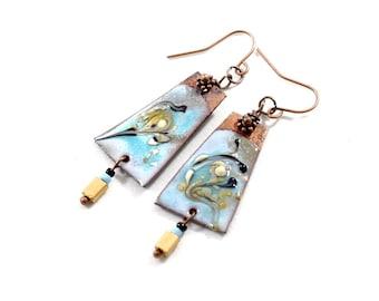 Blue Swirl Enameled Copper Earrings, Blue and Yellow, Boho  Earrings, Swirl Earrings, Industrial Earrings, Long Earrings, E051