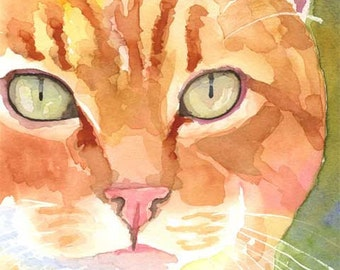Orange Tabby Cat Art Print of Original Watercolor Painting - 8x10