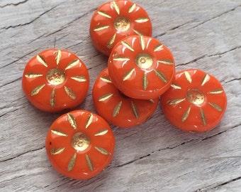 Czech glass beads flower daisy coin beads orange pack of 6