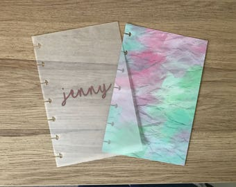 Pocket Vellum Foiled Name Dashboard - Watercolour - Choose your font!