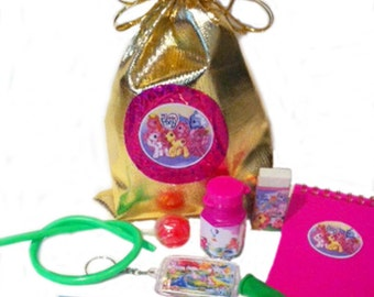 Little pony party/loot bag with items inside