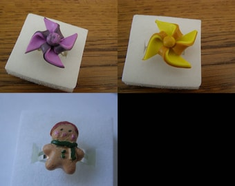 choice, child Adjustable ring, windmill, gingerbread polymer clay