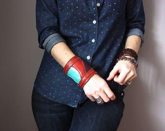 Boho leather cuff, red leather bracelet, handmade boho jewelry, gypsy bracelet, bohemian fashion, hippie bracelet cuff, collage