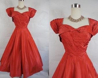 1950's Vintage Red Taffetta Shelf Bust Party Dress