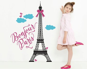 Eiffel Tower Wall Decal Bonjour Paris Theme Travel Nursery Girls Bedroom Cute French Decor Room