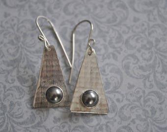 Sterling silver dangling earrings, textured metal earrings, pearls, artisan earrings