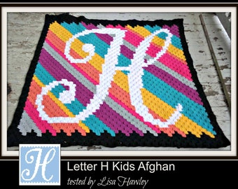 C2C Graph, Letter H, Baby Blanket, C2C Graph, & Written Word Chart, Monogrammed Baby Blanket, C2C Baby