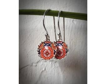 Mexican Tiles Earrings   Cabochon Ear Hook   10 mm   Sterling Silver