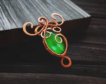 Copper necklace - elven necklace - Wire wrap pendant - elven pendant - Wire wrapped jewelry - elven pendant - mirkwood jewelry - skyrim