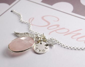 Name necklace with engraving christening jewellery gift box